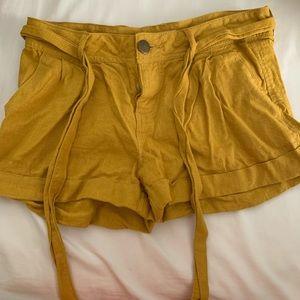 Mustard tie shorts